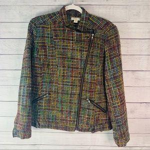 Coldwater Creek Tweed Moto Style Jacket Size 12